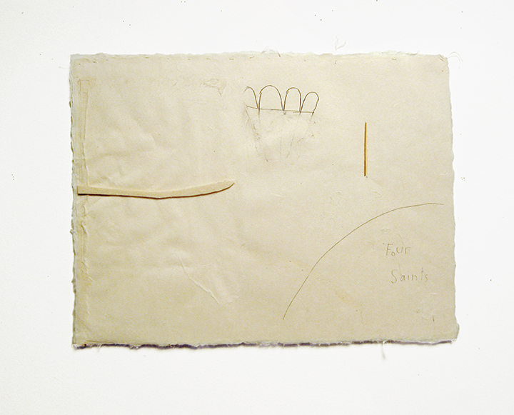 "Four saints , 2003-2004. Pencil, silk thread, wool felt, toothpick on a double-layer of Japanese handmade paper. 12.25"" x 16"""