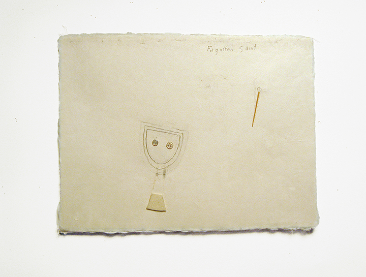 "Forgotten saint , 2003-2004. Pencil, silk thread, wool felt, buttons, toothpick on a double-layer of Japanese handmade paper. 12.25"" x 16"""