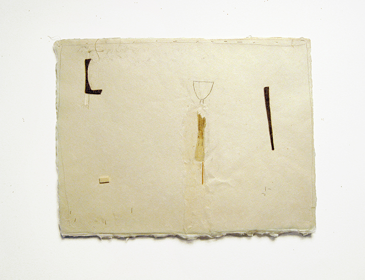 "Figure , 2004-2005. Pencil, silk thread, wool felt, toothpick on a double-layer of Japanese handmade paper. 12.25"" x 16"""