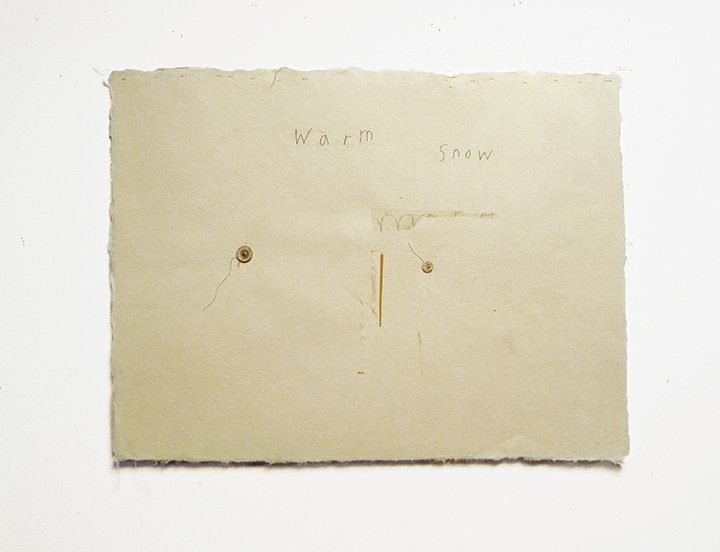 "warm snow , 2003-2004. Pencil, silk thread, buttons, toothpick on a double-layer of Japanese handmade paper. 12.25"" x 16"""