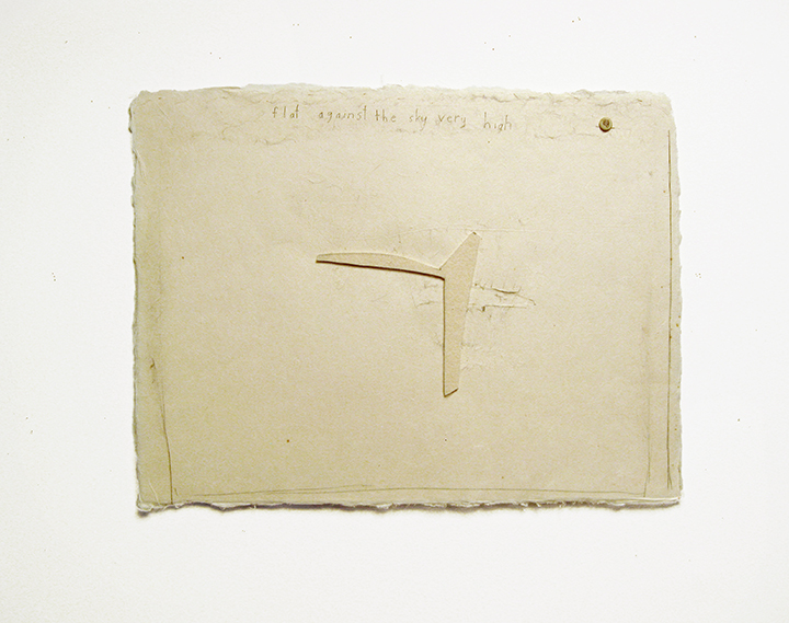 "flat against the sky very high , 2003-2004. Pencil, silk thread, wool felt, button on a double-layer of Japanese handmade paper. 12.25"" x 16"""