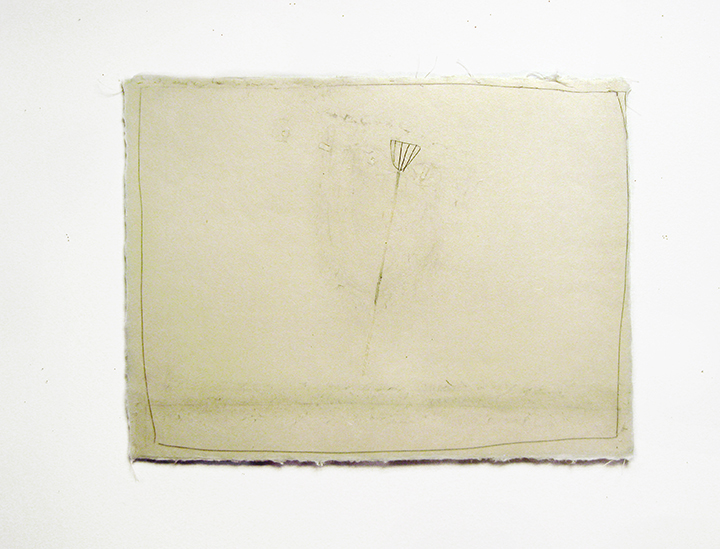 "Ruby , 2002. Pencil, silk thread on a double-layer of Japanese handmade paper. 12.25"" x 16"""