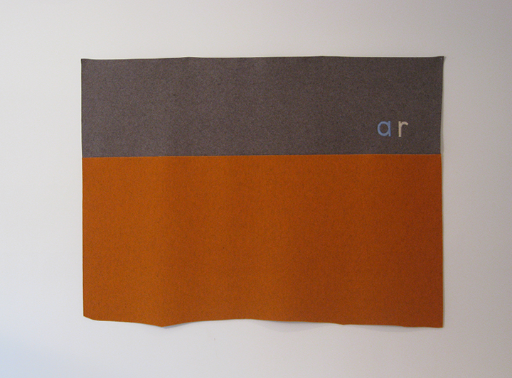 "ar/orange (number 23 ), 2015. Industrial wool felt hand stitched with silk thread. 55"" x 73.25"""