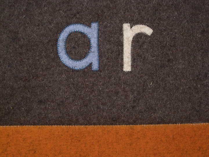 "ar/orange (number 23 ), 2015 - Detail. Industrial wool felt hand stitched with silk thread. 55"" x 73.25"