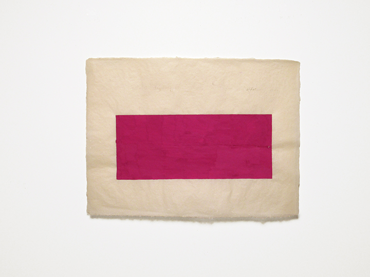 "after (magenta),  2015. Pencil, gouache, cut-and-pasted paper, and silk thread on a double-layer of handmade paper. 22"" x 30"""