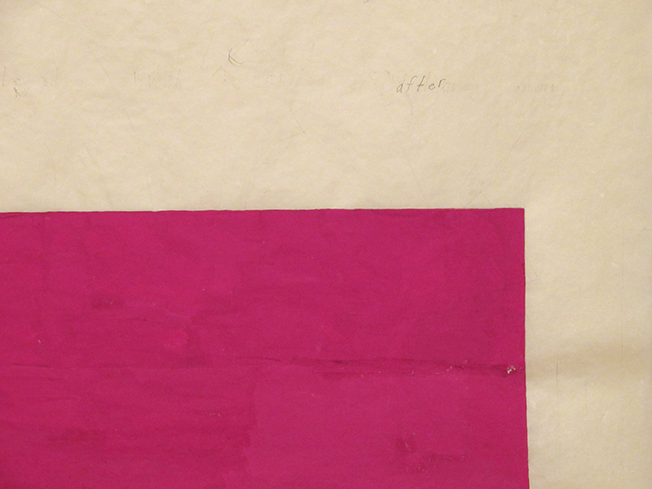 "after (magenta),  2015 - Detail. Pencil, gouache, cut-and-pasted paper, and silk thread on a double-layer of handmade paper. 22"" x 30"