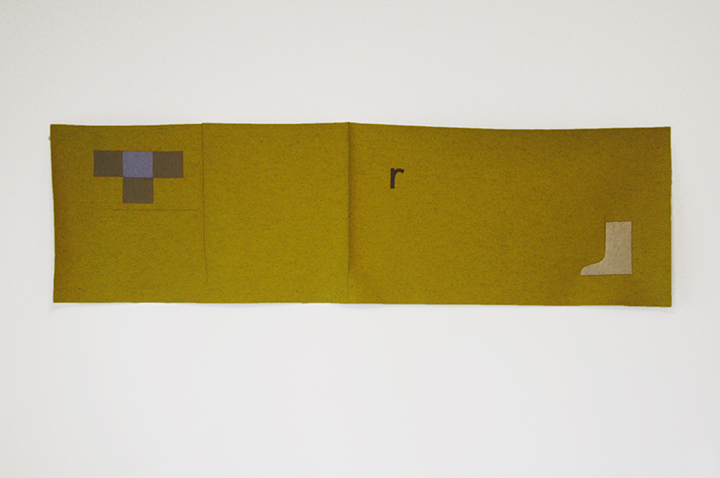 "r - mustard and blue (number 30),  2016. Industrial wool felt hand stitched with silk thread. 27"" x 94"""
