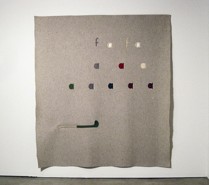 "Chart , 2012. Pencil on industrial wool felt hand stitched with silk thread. 85.5"" x 75.75"""