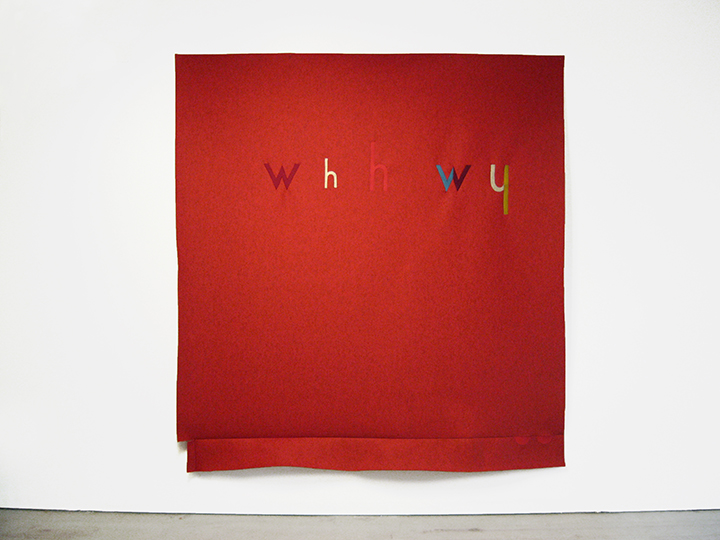 "Red , 2016. Industrial wool felt hand stitched with silk thread. 76.5"" x 71"""