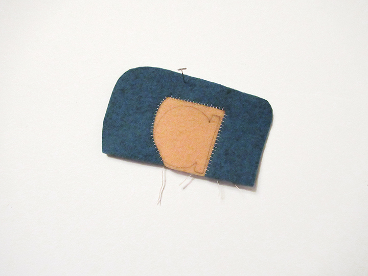 "Small a , 2018. Pencil on industrial wool felt hand stitched with silk thread. 3.5"" x 5.75"""