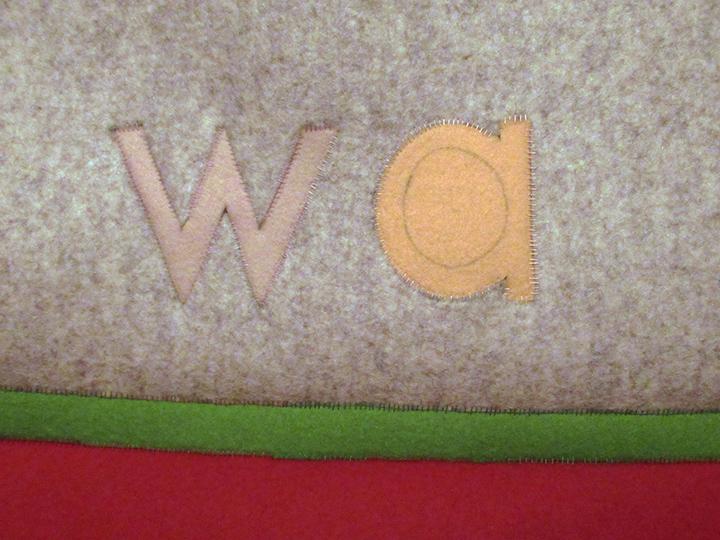 "w a , 2018 - Detail. Industrial wool felt hand stitched with silk thread. 20"" x 18"""