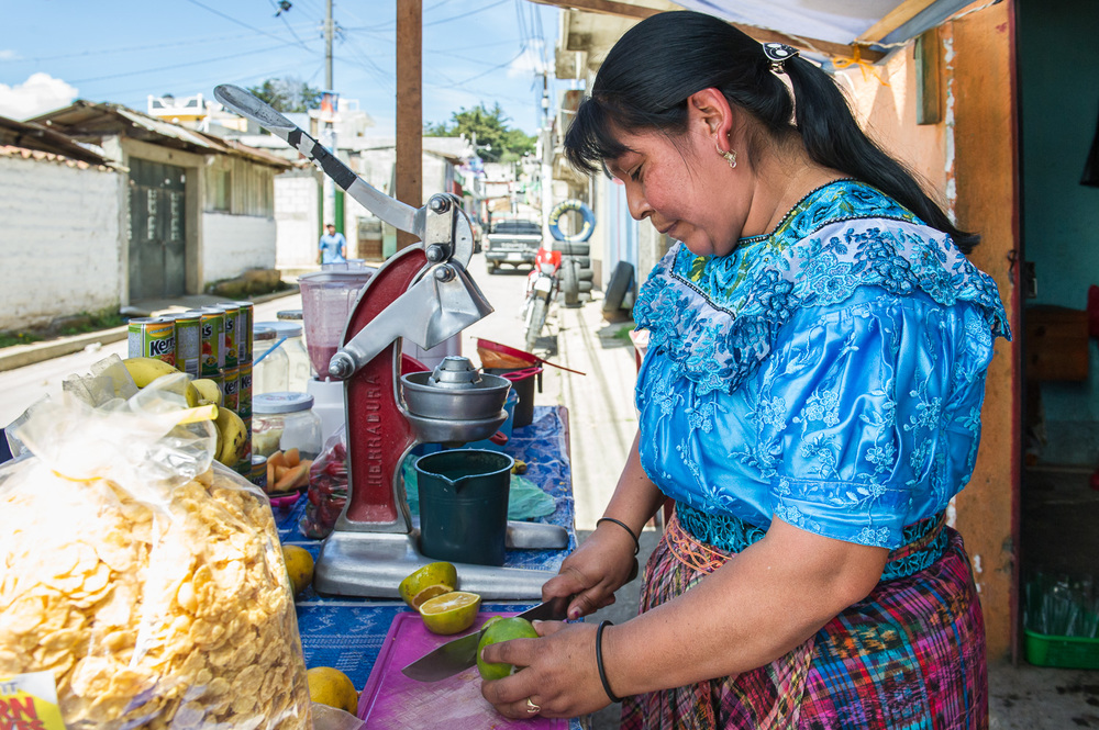 Picture of a woman and her liquado cart in Guatemala by Dawn Deeks nonprofit photography