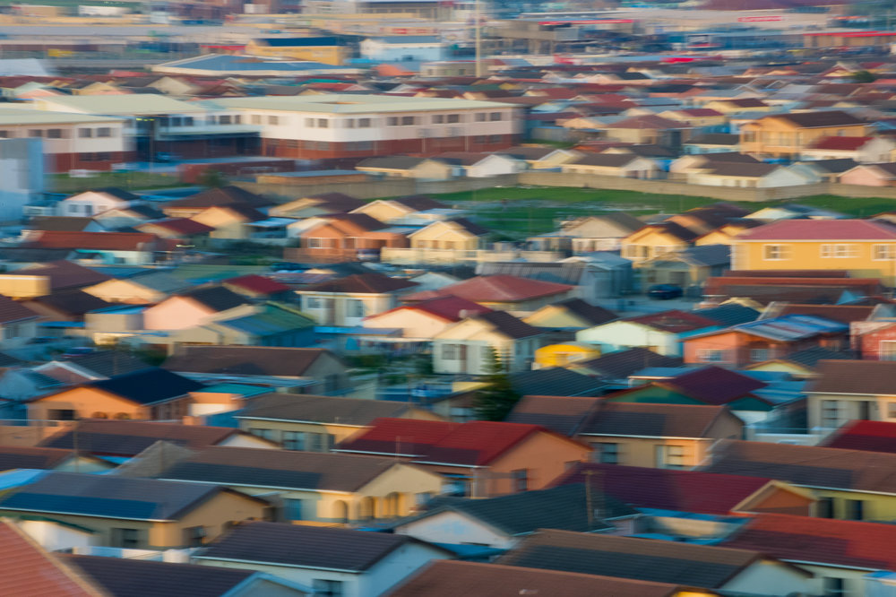 Even in the new, relatively modern section of Khayelitsha, the concrete-block homes are tightly packed together.