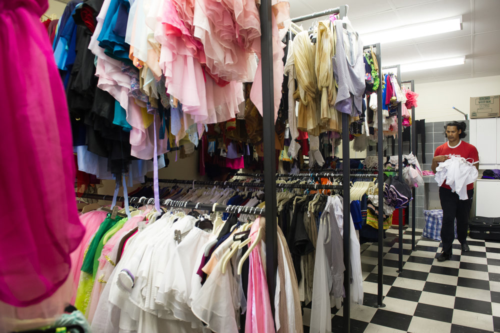 Dance for All maintains a sizeable wardrobe of costumes, shoes, tights leotards and other dance essentials on site.