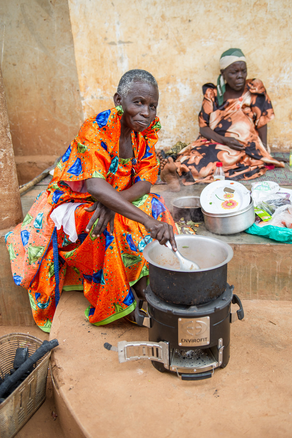 Jane uses a clean cookstove.