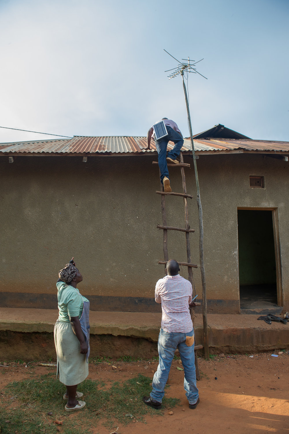 Josephine's house is connected to the grid but the electricity goes out routinely. She's adding a solar panel on the roof to help reduce her bills and keep the lights on even when the main power is out.