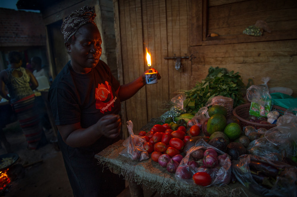 Josephine used kerosene to light her vegetable stand and canteen but the fuel was dirty, expensive and didn't provide enough light.