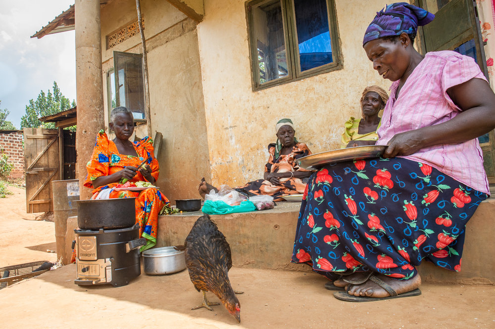 The clean cookstove is portable, so Jane can move it under the cover of her house to stay out of the sun or the rain--without putting her home at risk of fire.