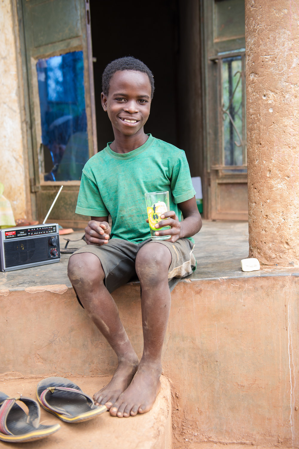 Brian used to miss school because he was sick with parasites from the water. Since the family got the purification system, no one has gotten sick.