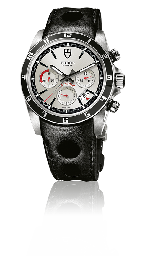 Grantour Chronograph, Silver Dial / Large Perforation Leather Strap