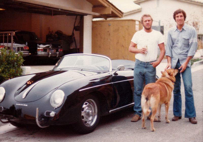 Meyer and Steve McQueen with the Speedster Meyer bought from, then sold back to McQueen.