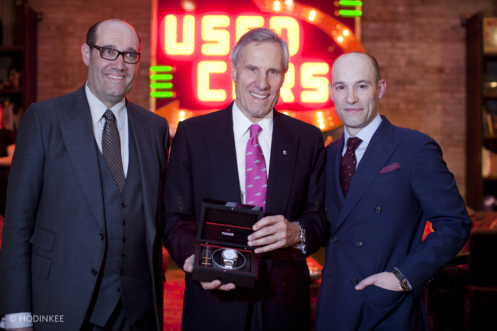Here Bruce Meyer is presented with a Tudor Heritage Chronograph
