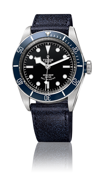 Heritage Black Bay, Aged Leather Strap (Blue)