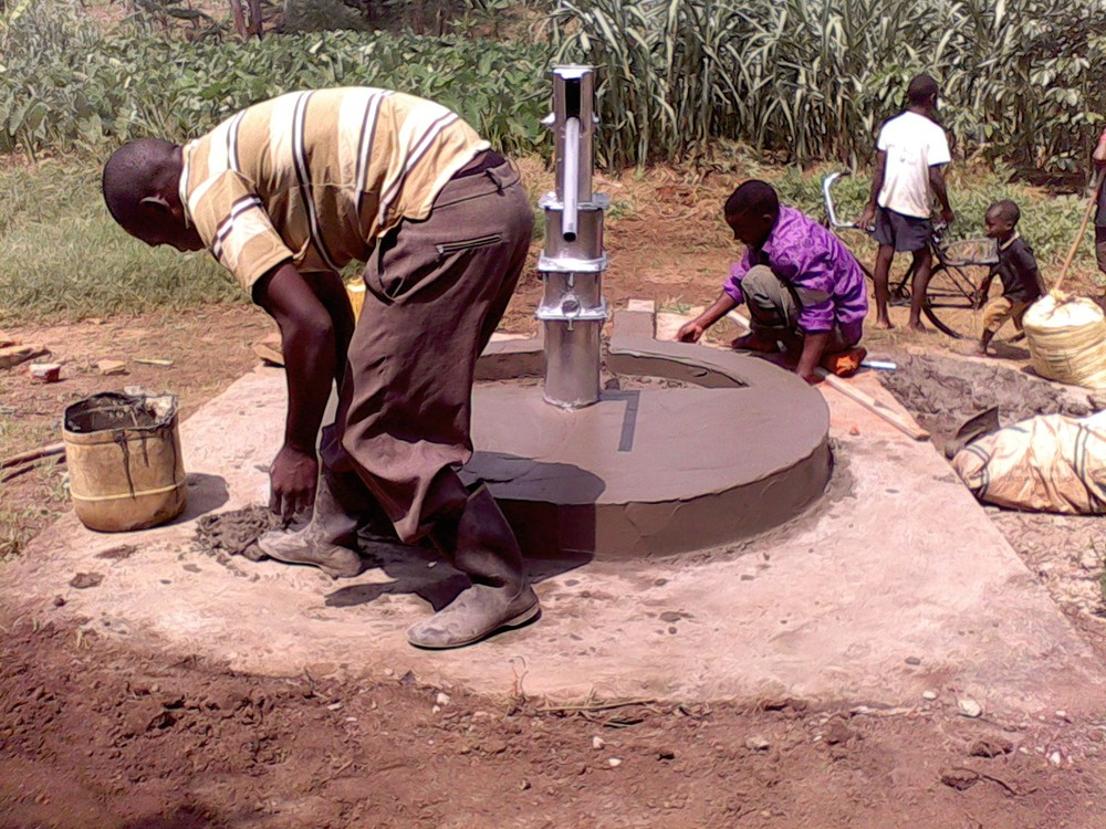 The new well being constructed by engineers with the help of the community members.