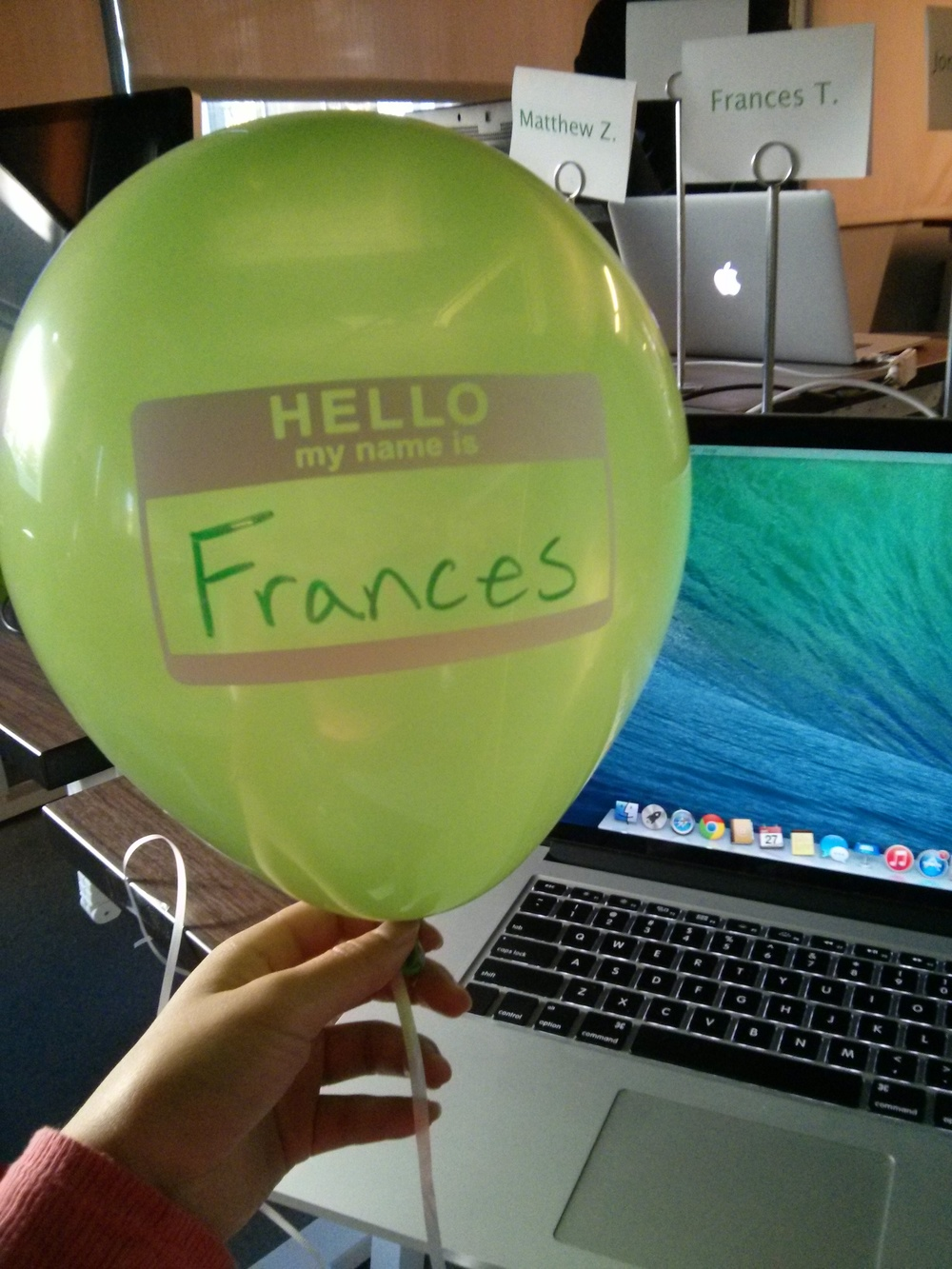 First day balloon.