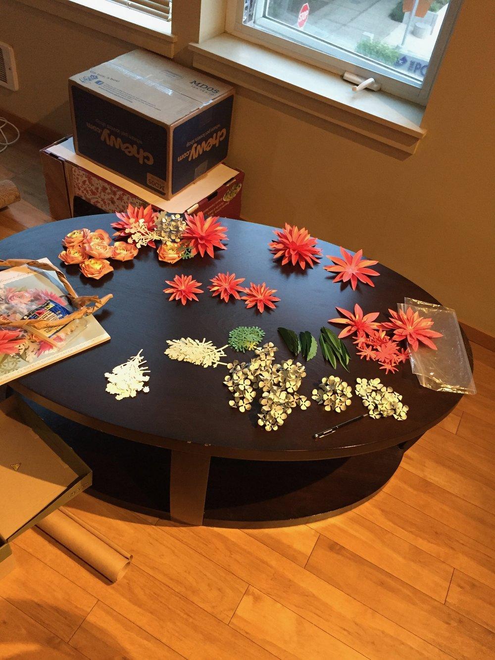 Paper flowers, in progress