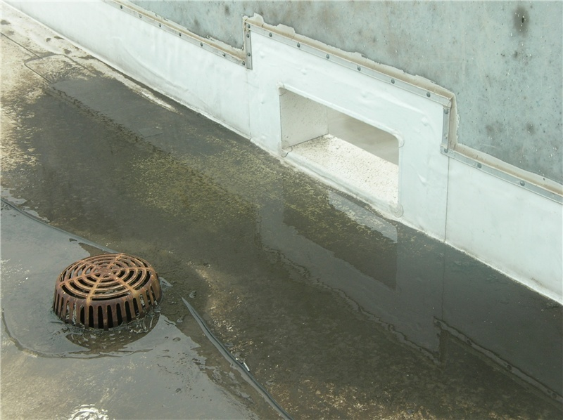 A thru-wall overflow scupper near a drain on a TPO roof.