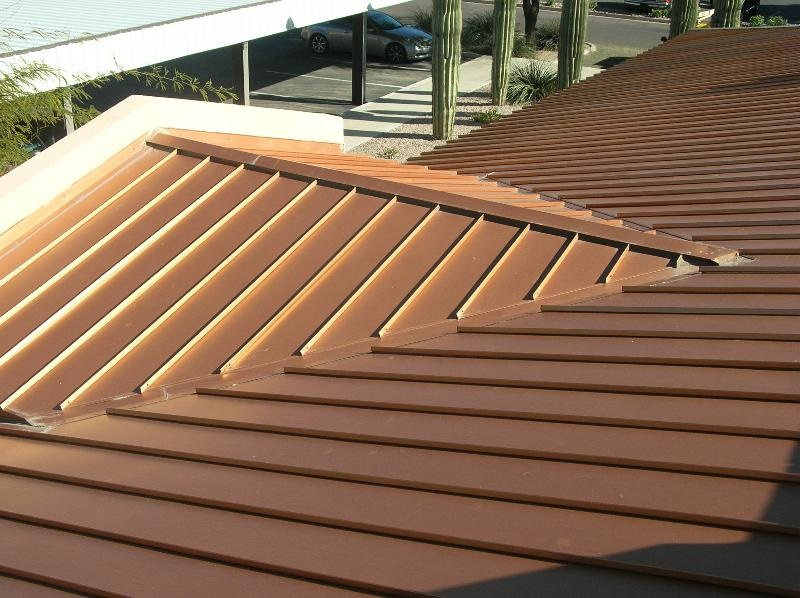 A narrow-batten standing seam metal roof.