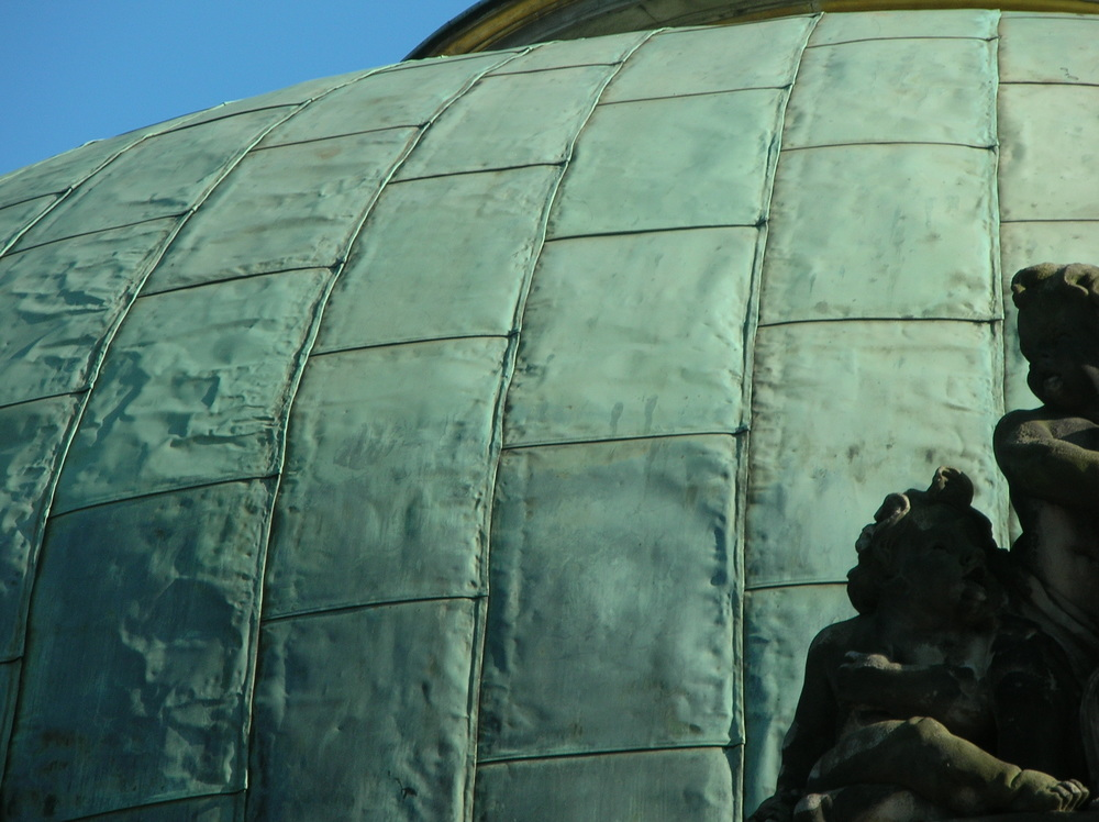 Close-up of the flat seam copper dome on the New Palace at Sanssouci, Potsdam, Germany.