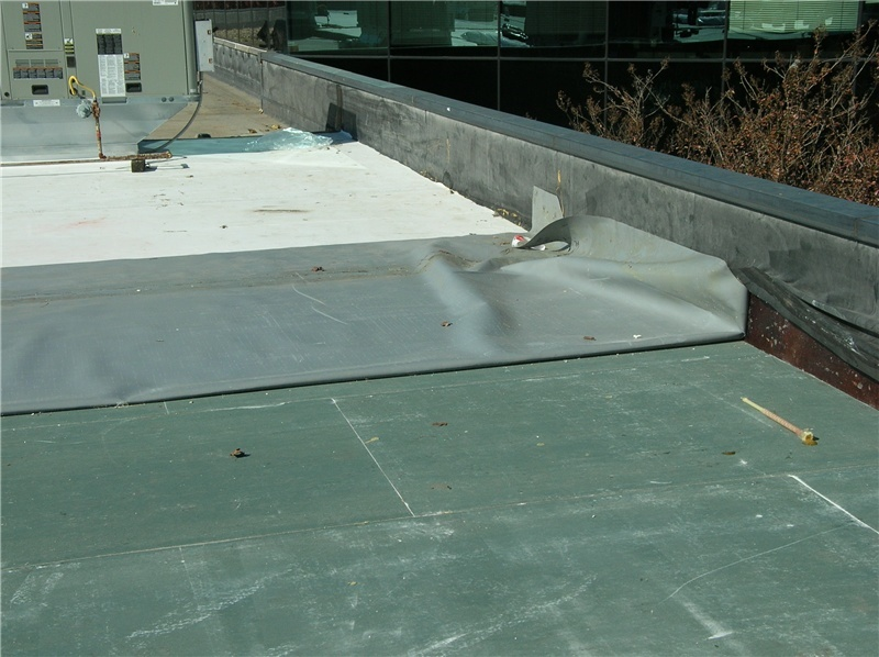 A sheet of TPO during a roof installation, folded back on itself to show the white top surface and the gray underside.