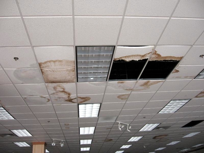 What a drop ceiling can look like when a roof leak goes unrepaired.
