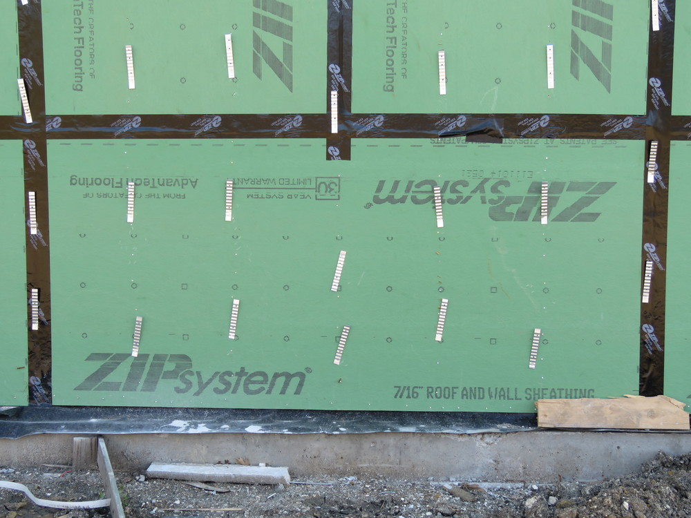 Sheathing panel with taped joints.