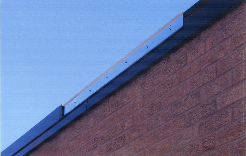 Edge Metal: showing partially installed continuous cleat and coping/fascia cover piece.