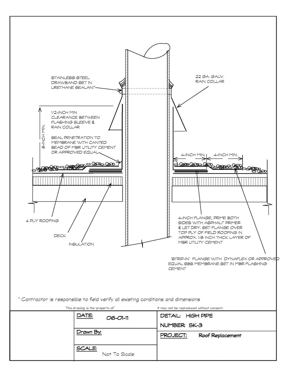 Roof pipe penetration flashing