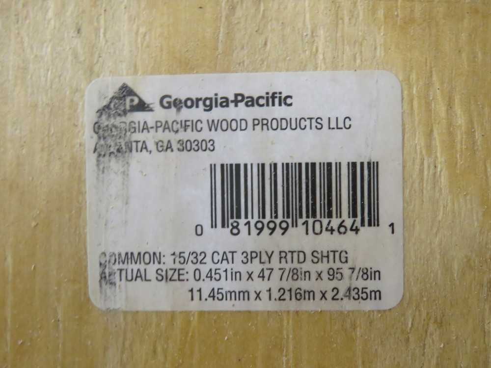 Plywood sheathing Label.