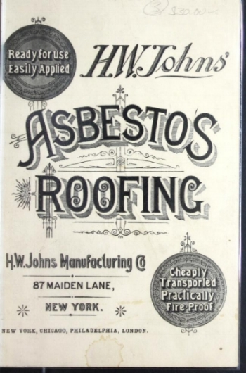 Asbestos roofing brochure from 1887.