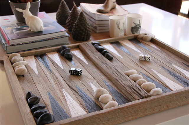 Isn't this the greatest gift! A handmade backgammon set $390 from The Inspired Paddock.Using recycled timbers and stones it can be custom painted to suit your decor or club colours