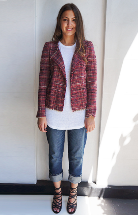 Isabel Marant gaylord Jacket $495, Golda T $195, Pradley Girlfriend Jean $315 and Swooning over the Paw Heels $1095