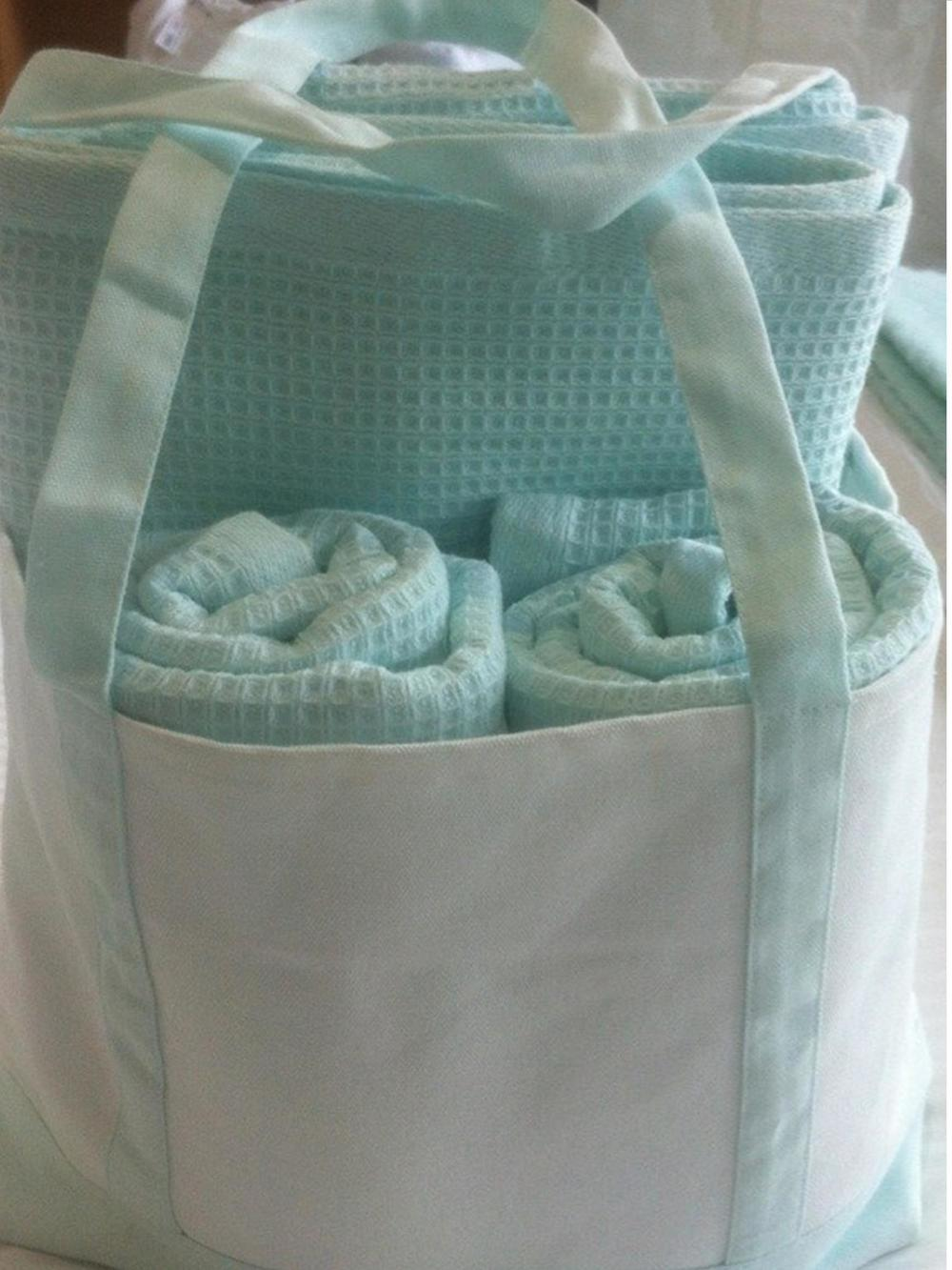 Waffle Towel Pack - 2 bath towels, 2 hand towels and a tote bag $49