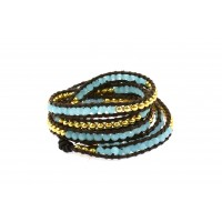 For a super on trend look this turq and gold leather wrist wrap is perfect $39.95 from Zjoosh