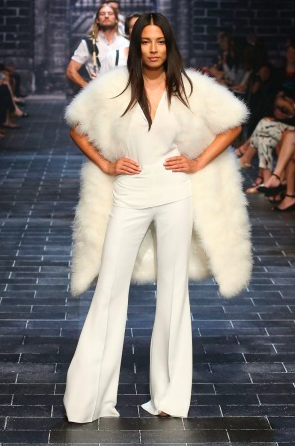Jessica Gomes opening the David Jones parade showing 4 keyAutumn Winter trends - Flares, Vests, Fur and Winter White