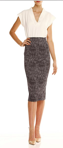 7. In any Capsule Wardrobe, a skirt is a must. This pencil skirt from Sacha Drake is a perfect addition to mix back with your tops and sweaters $189