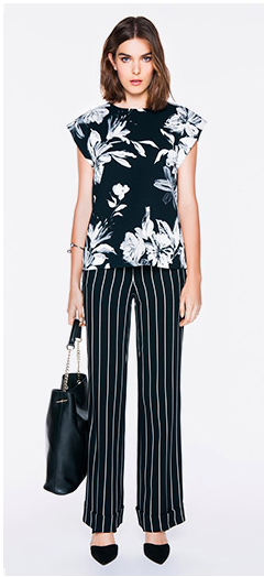 Combine prints and stripes for a new take on monochrome - Veronica Maine