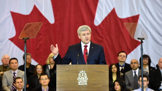 Photo Via the CBC - Harper Introducing new terror legislation.  Dial up the hyperbole.