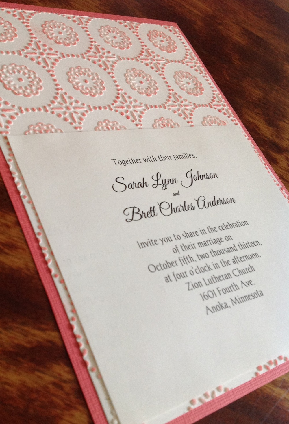 Coral and ivory embossed invitation for Sarah and Brett's modern vintage wedding.
