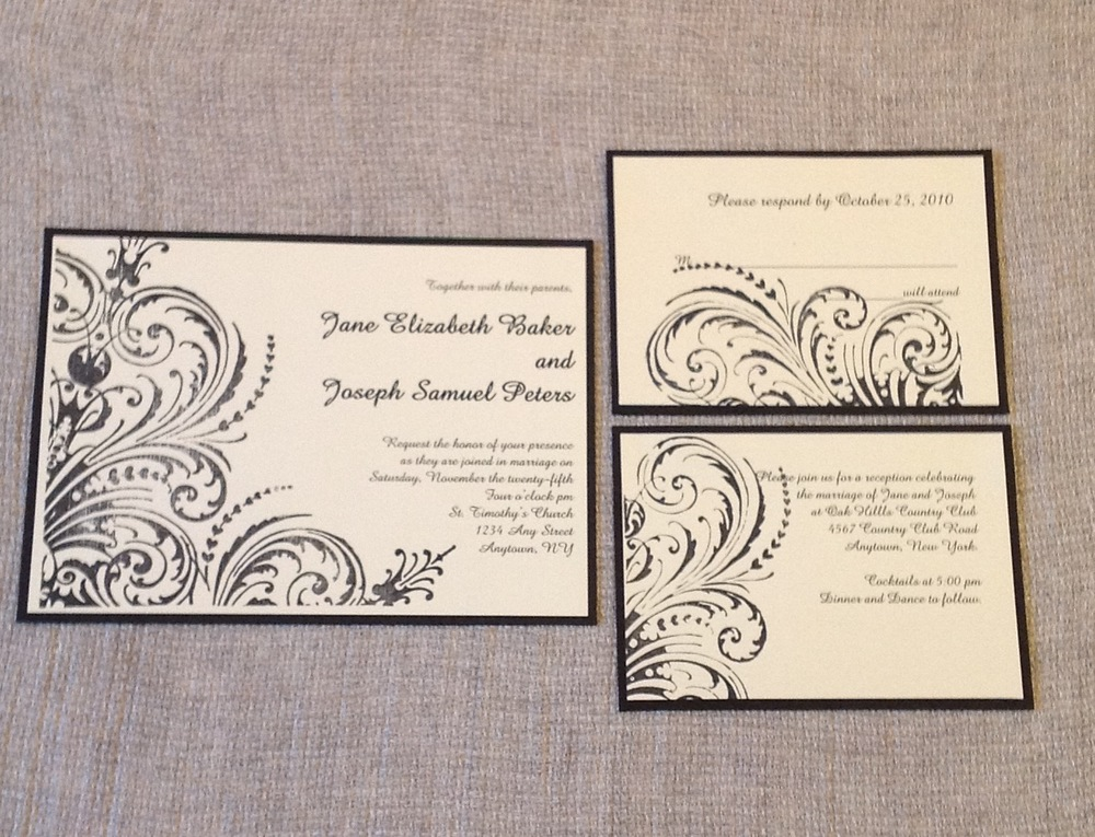 Stamped cream and black invitation suite   $$$